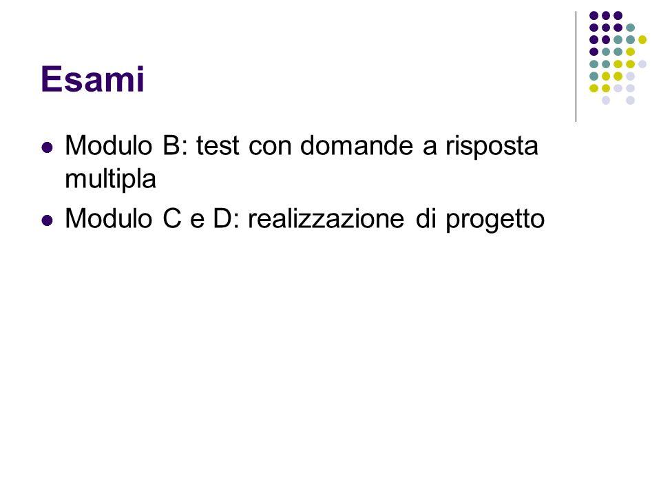 Esami Modulo B: test con domande a risposta multipla Modulo C e D: realizzazione di progetto