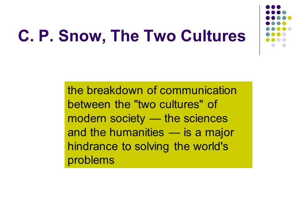 C. P. Snow, The Two Cultures the breakdown of communication between the