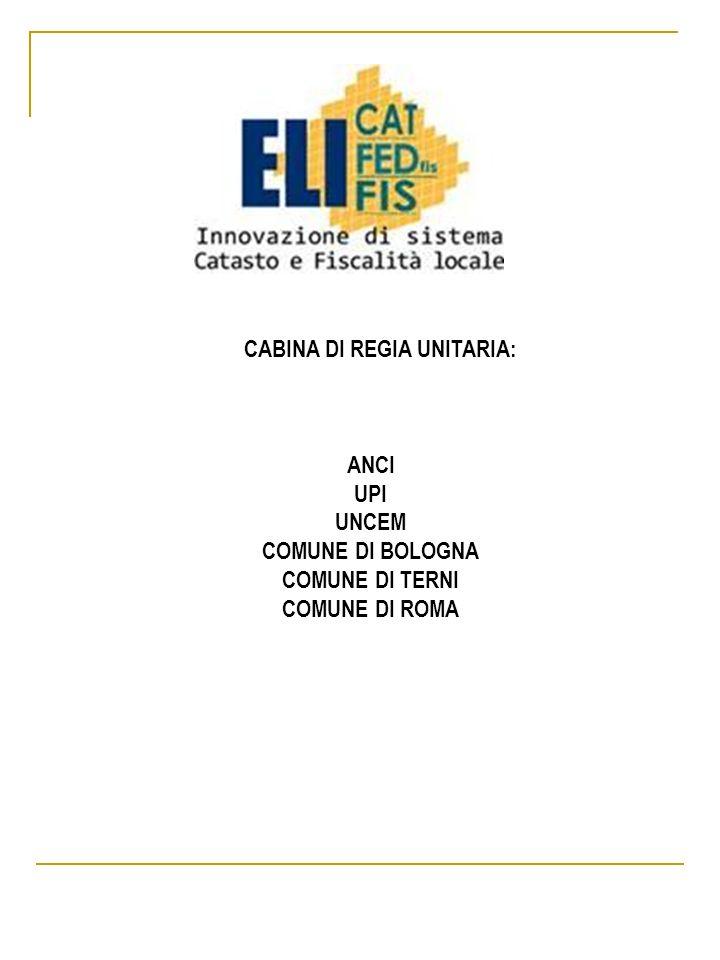 CABINA DI REGIA UNITARIA: ANCI UPI UNCEM COMUNE DI BOLOGNA COMUNE DI TERNI COMUNE DI ROMA