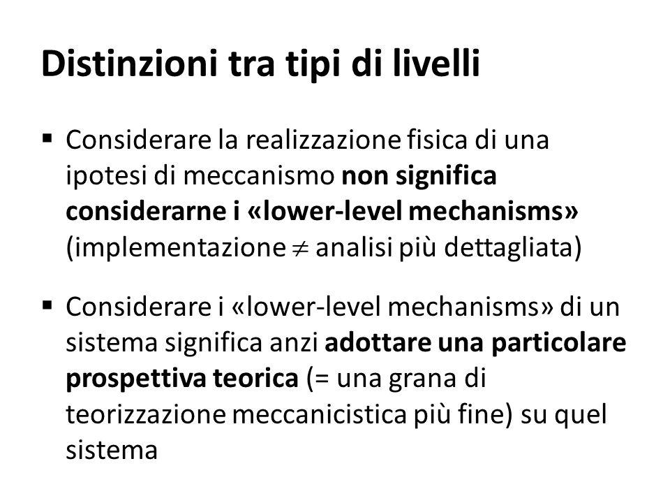 Distinzioni tra tipi di livelli Considerare la realizzazione fisica di una ipotesi di meccanismo non significa considerarne i «lower-level mechanisms»