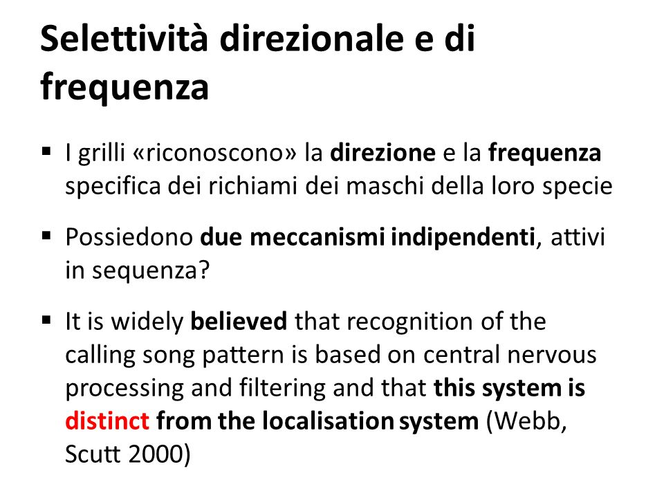 Selettività direzionale e di frequenza I grilli «riconoscono» la direzione e la frequenza specifica dei richiami dei maschi della loro specie Possiedo