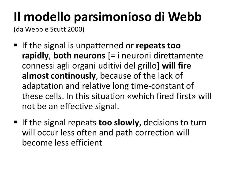 Il modello parsimonioso di Webb (da Webb e Scutt 2000) If the signal is unpatterned or repeats too rapidly, both neurons [= i neuroni direttamente con