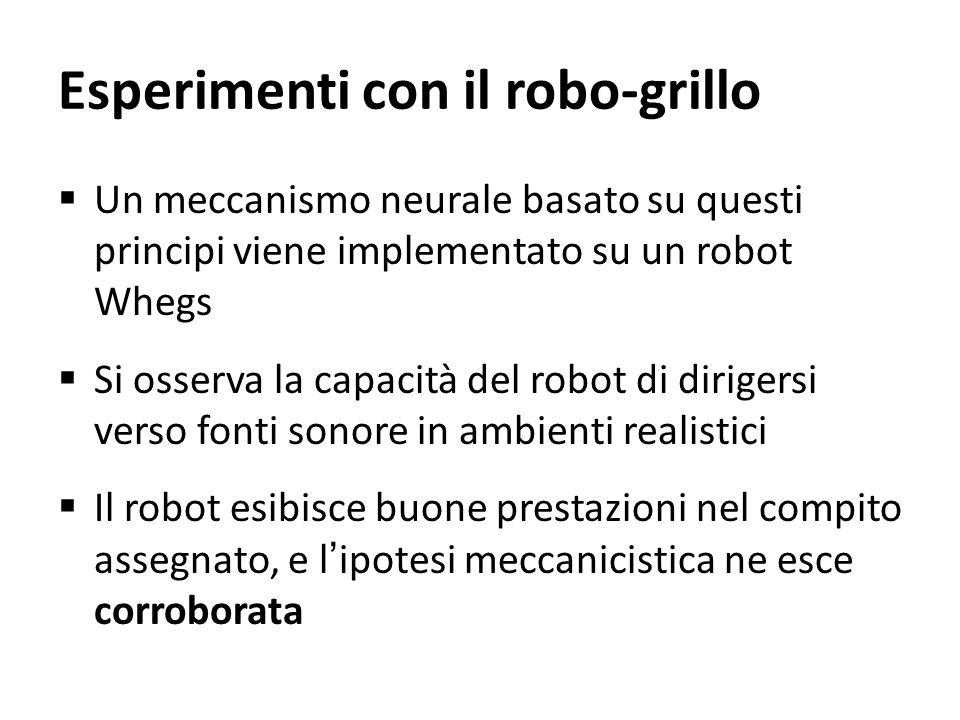 Esperimenti con il robo-grillo Un meccanismo neurale basato su questi principi viene implementato su un robot Whegs Si osserva la capacità del robot d