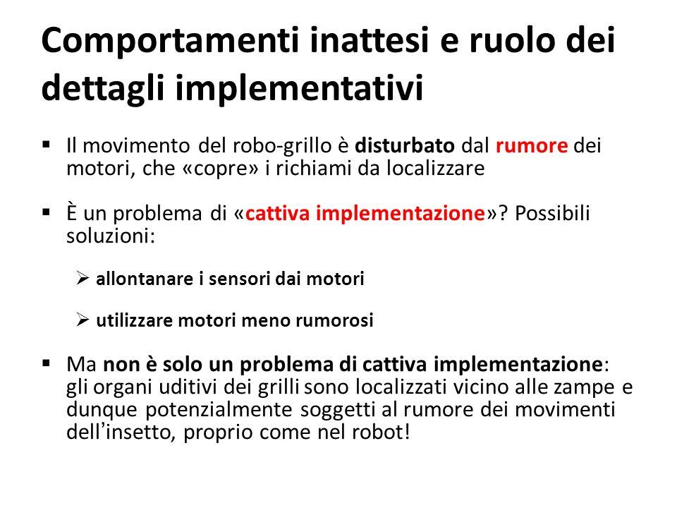 Comportamenti inattesi e ruolo dei dettagli implementativi Il movimento del robo-grillo è disturbato dal rumore dei motori, che «copre» i richiami da