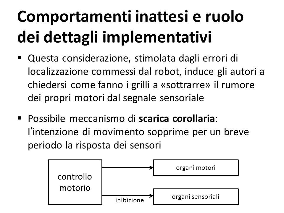 Comportamenti inattesi e ruolo dei dettagli implementativi Questa considerazione, stimolata dagli errori di localizzazione commessi dal robot, induce