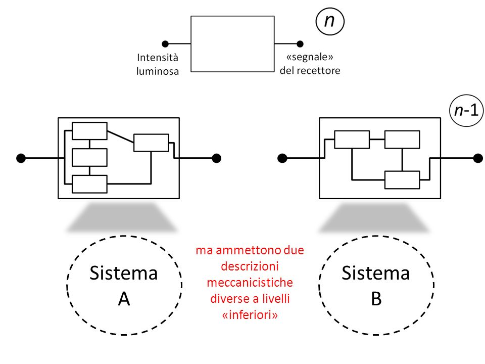 Distinzioni tra tipi di livelli 1.we can attempt to replicate the relevant mechanisms, at least with respect to a certain level of explanation, without necessarily having to use the same fundamental material basis 2.of course, it remains a matter of hypothesis that the lower level mechanism is not essential to understand the higher level function Lindipendenza dal supporto materiale (1) non implica affatto lirrilevanza della profondità della teorizzazione meccanicistica (2)