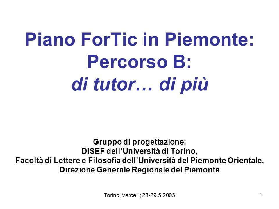 Torino, Vercelli; 28-29.5.20031 Piano ForTic in Piemonte: Percorso B: di tutor… di più Gruppo di progettazione: DISEF dellUniversità di Torino, Facolt