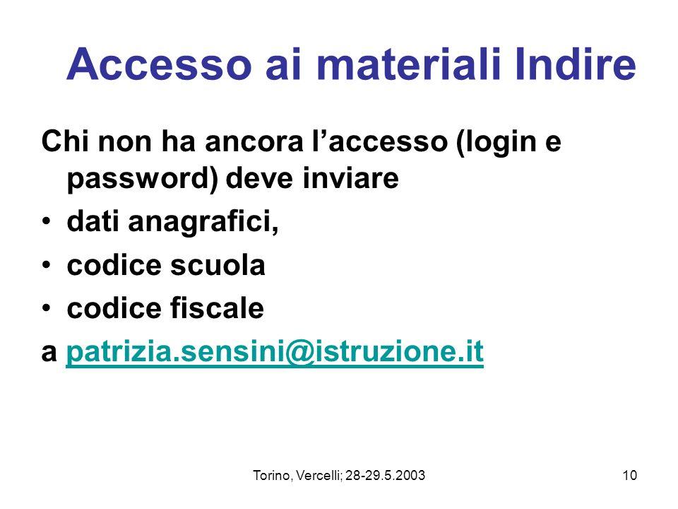 Torino, Vercelli; 28-29.5.200310 Accesso ai materiali Indire Chi non ha ancora laccesso (login e password) deve inviare dati anagrafici, codice scuola