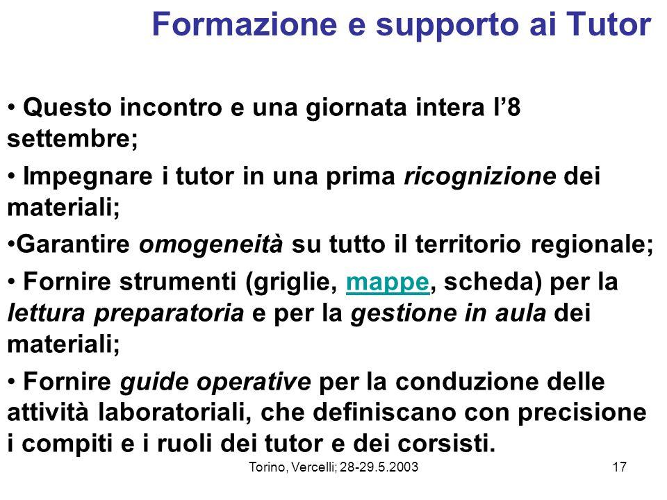 Torino, Vercelli; 28-29.5.200317 Formazione e supporto ai Tutor Questo incontro e una giornata intera l8 settembre; Impegnare i tutor in una prima ric