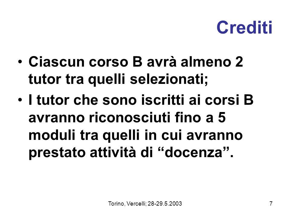 Torino, Vercelli; 28-29.5.20037 Crediti Ciascun corso B avrà almeno 2 tutor tra quelli selezionati; I tutor che sono iscritti ai corsi B avranno ricon