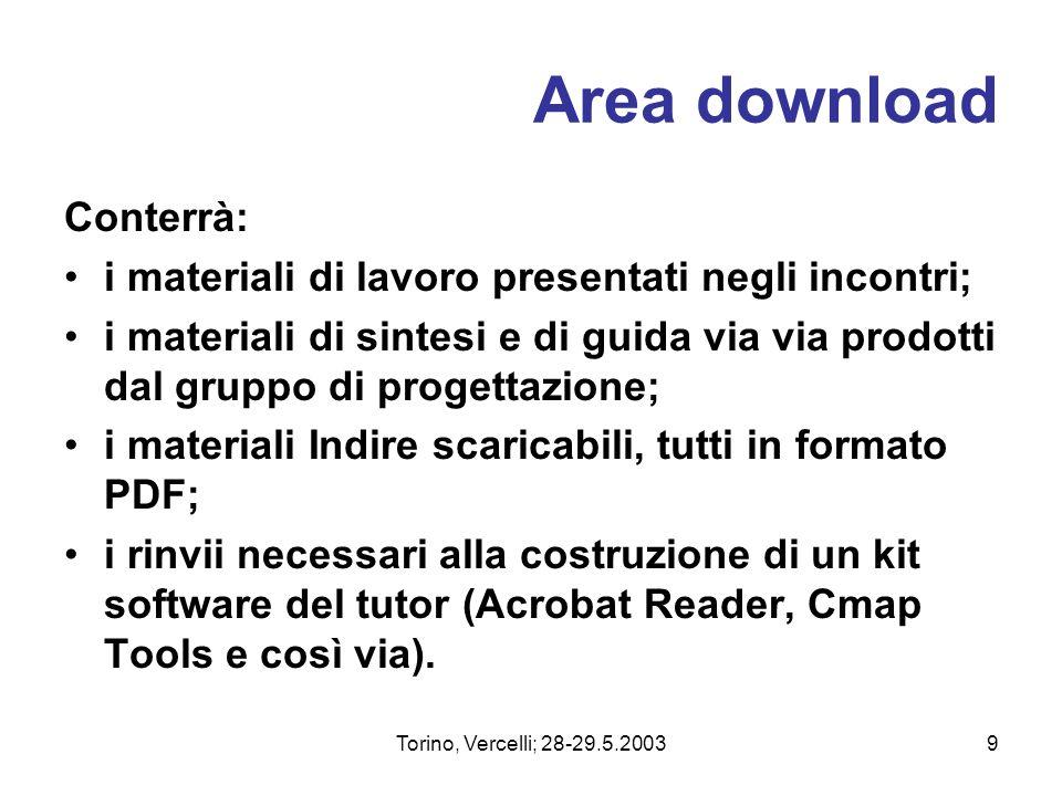 Torino, Vercelli; 28-29.5.20039 Area download Conterrà: i materiali di lavoro presentati negli incontri; i materiali di sintesi e di guida via via pro