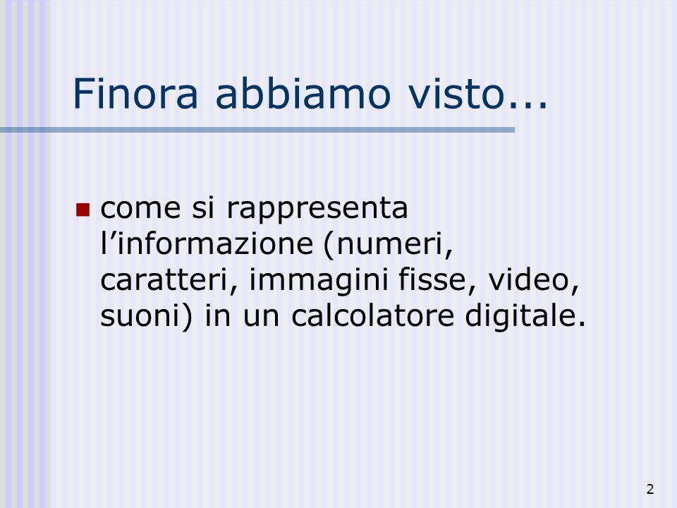 2 Finora abbiamo visto... come si rappresenta linformazione (numeri, caratteri, immagini fisse, video, suoni) in un calcolatore digitale.
