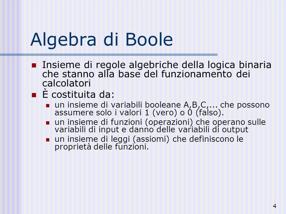 4 Algebra di Boole Insieme di regole algebriche della logica binaria che stanno alla base del funzionamento dei calcolatori È costituita da: un insiem