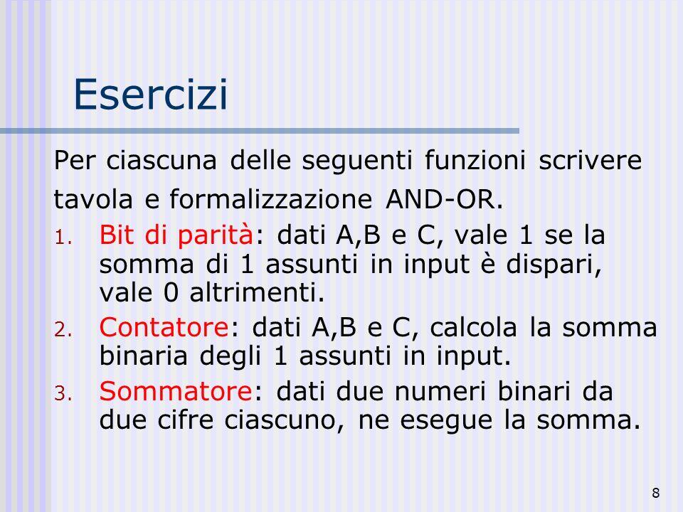 8 Esercizi Per ciascuna delle seguenti funzioni scrivere tavola e formalizzazione AND-OR. 1. Bit di parità: dati A,B e C, vale 1 se la somma di 1 assu