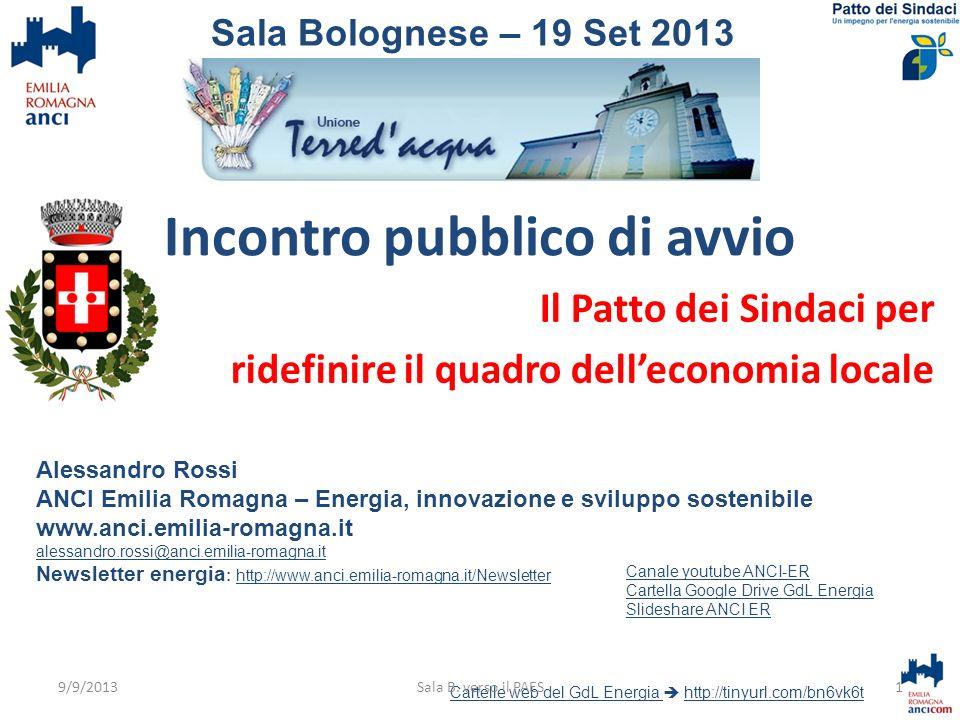 Incontro pubblico di avvio Il Patto dei Sindaci per ridefinire il quadro delleconomia locale Alessandro Rossi ANCI Emilia Romagna – Energia, innovazio
