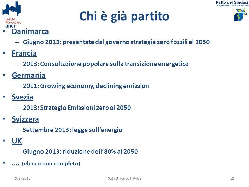 Chi è già partito 9/9/2013Sala B. verso il PAES12 Danimarca – Giugno 2013: presentata dal governo strategia zero fossili al 2050 Francia – 2013: Consu