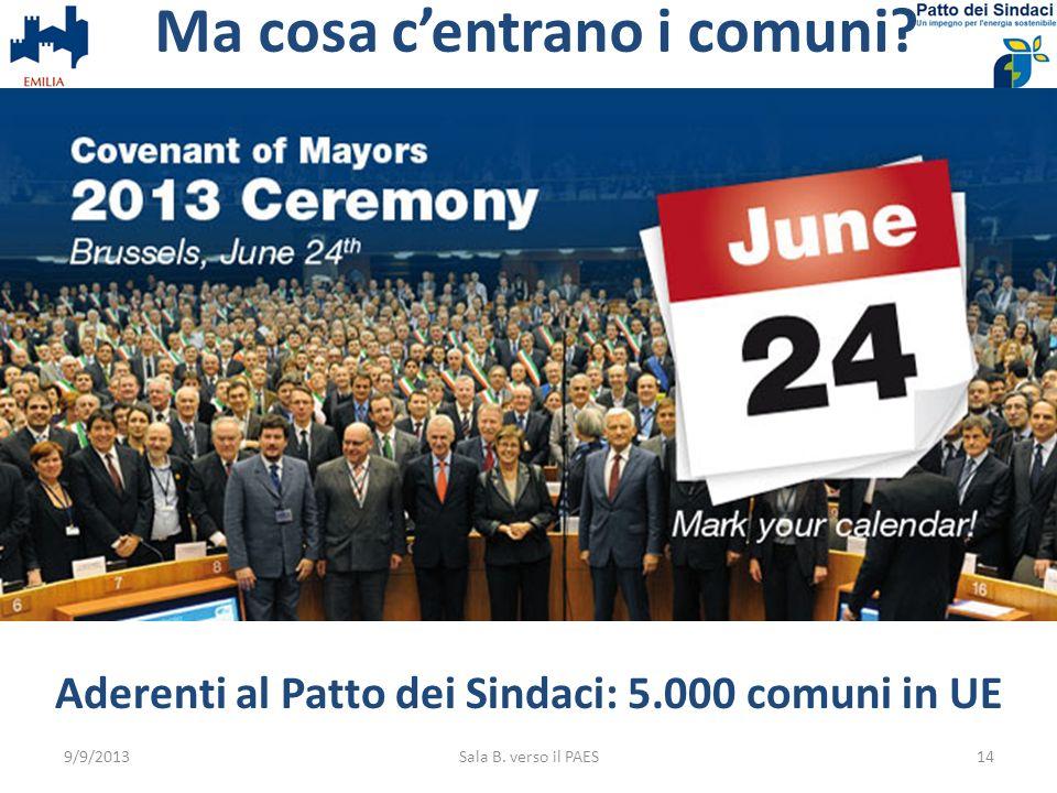 Ma cosa centrano i comuni? Aderenti al Patto dei Sindaci: 5.000 comuni in UE 9/9/2013Sala B. verso il PAES14