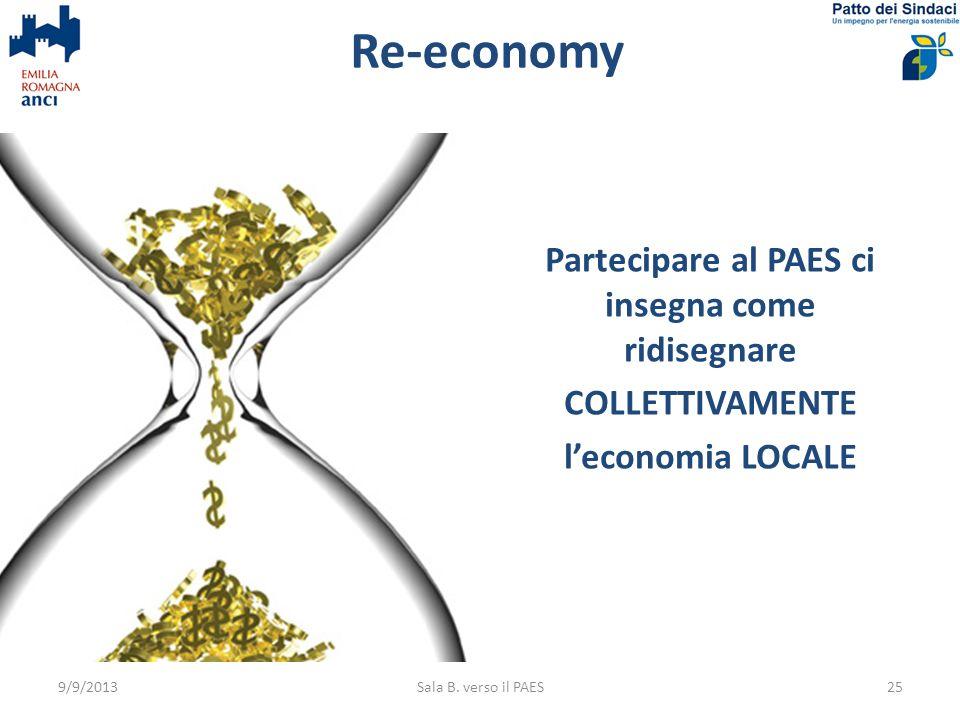 Re-economy Partecipare al PAES ci insegna come ridisegnare COLLETTIVAMENTE leconomia LOCALE 9/9/2013Sala B. verso il PAES25