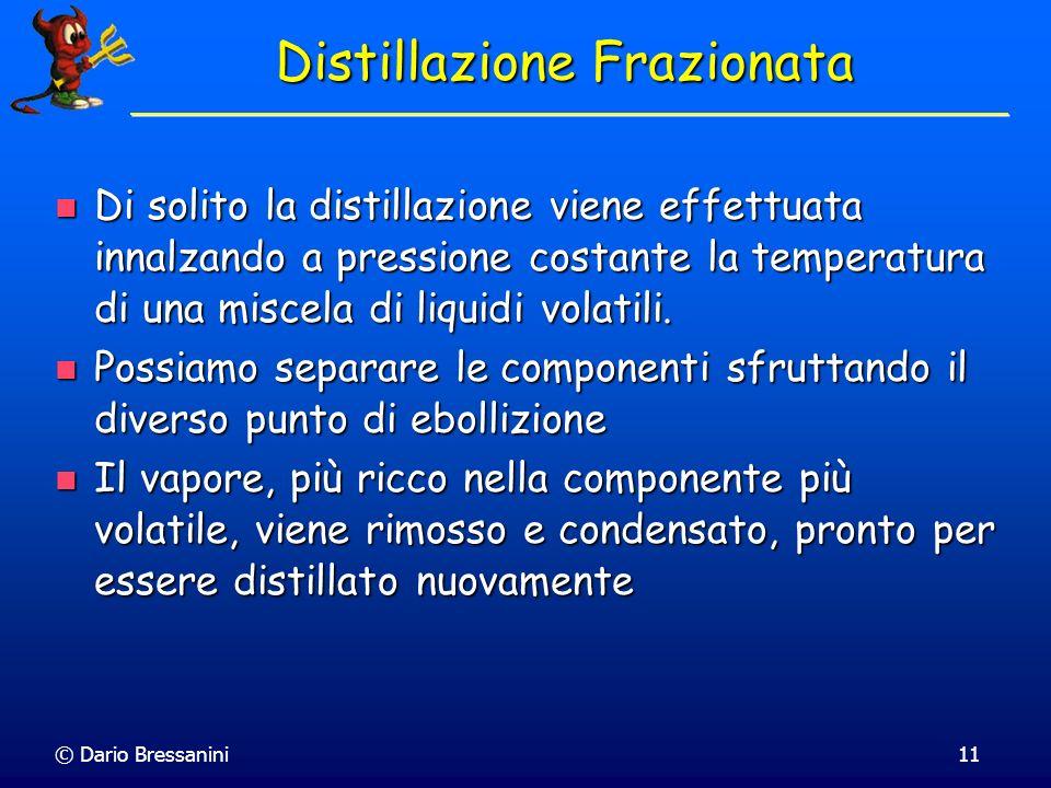 © Dario Bressanini11 Distillazione Frazionata Di solito la distillazione viene effettuata innalzando a pressione costante la temperatura di una miscel