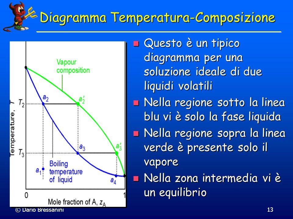 © Dario Bressanini13 Questo è un tipico diagramma per una soluzione ideale di due liquidi volatili Questo è un tipico diagramma per una soluzione idea