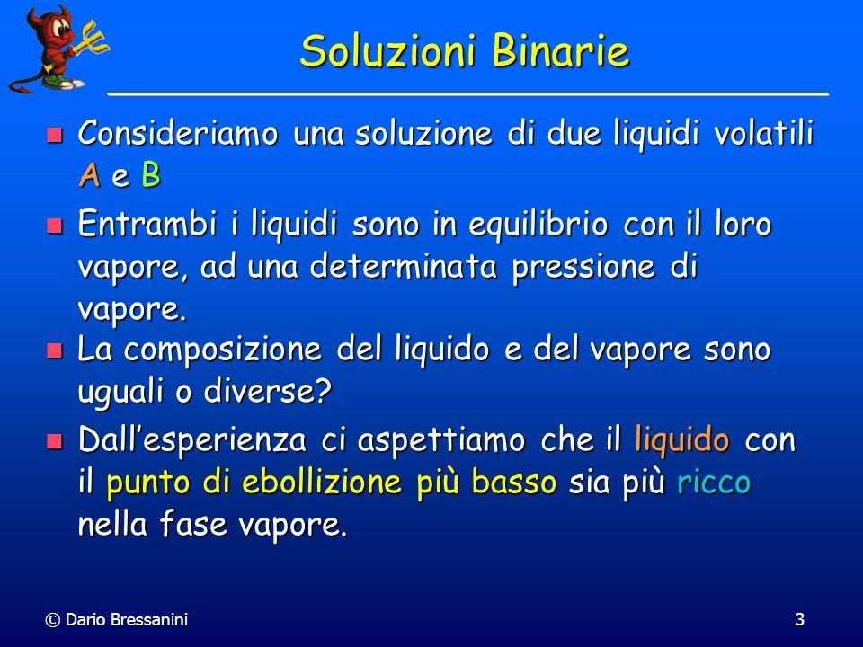 © Dario Bressanini3 Soluzioni Binarie Consideriamo una soluzione di due liquidi volatili A e B Consideriamo una soluzione di due liquidi volatili A e