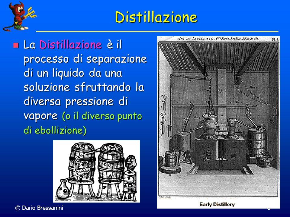 © Dario Bressanini19 Azeotropi In un Azeotropo di minimo, i componenti possono essere separati nel residuo In un Azeotropo di minimo, i componenti possono essere separati nel residuo Il distillato converge alla composizione dellAzeotropo Il distillato converge alla composizione dellAzeotropo EtOH - H 2 O, al 96% EtOH.