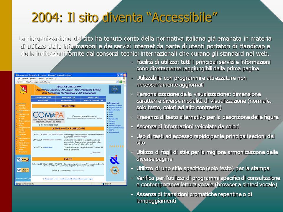 2004: Il sito diventa Accessibile La riorganizzazione del sito ha tenuto conto della normativa italiana già emanata in materia di utilizzo delle informazioni e dei servizi internet da parte di utenti portatori di Handicap e delle indicazioni fornite dai consorzi tecnici internazionali che curano gli standard nel web.