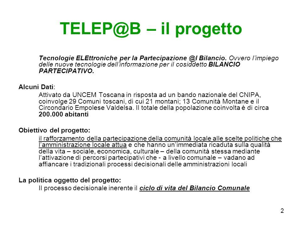 2 TELEP@B – il progetto Tecnologie ELEttroniche per la Partecipazione @l Bilancio.