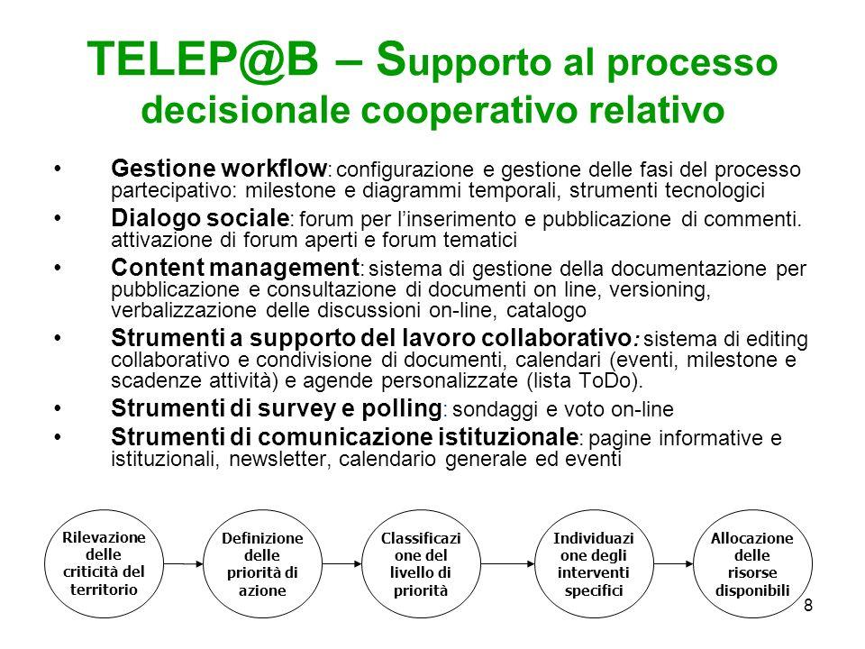 8 TELEP@B – S upporto al processo decisionale cooperativo relativo Gestione workflow : configurazione e gestione delle fasi del processo partecipativo: milestone e diagrammi temporali, strumenti tecnologici Dialogo sociale : forum per linserimento e pubblicazione di commenti.