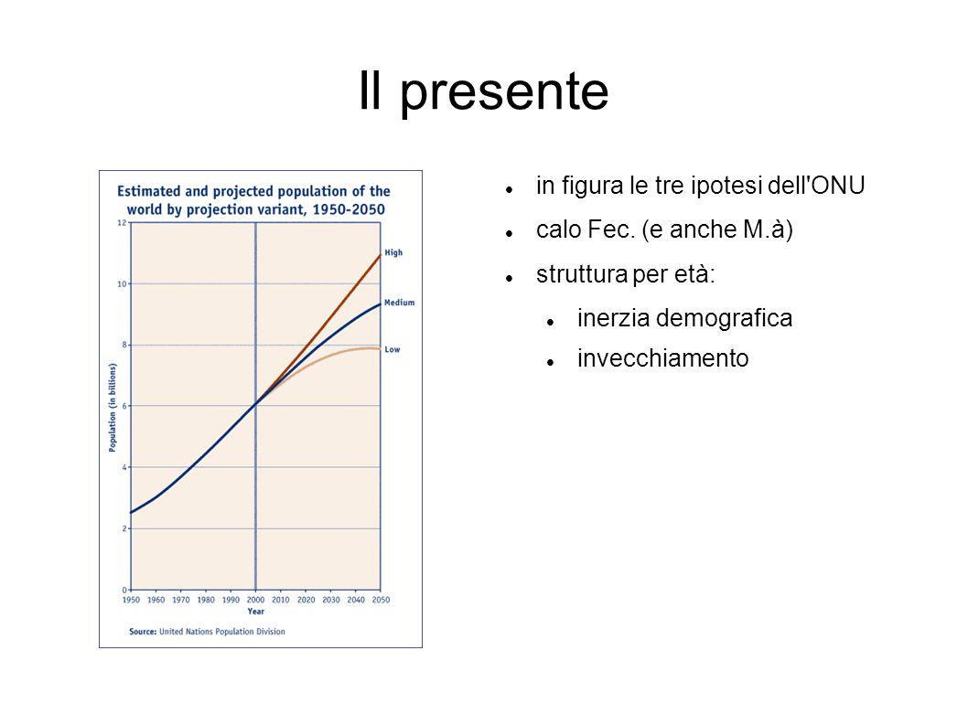 Il presente in figura le tre ipotesi dell'ONU calo Fec. (e anche M.à) struttura per età: inerzia demografica invecchiamento