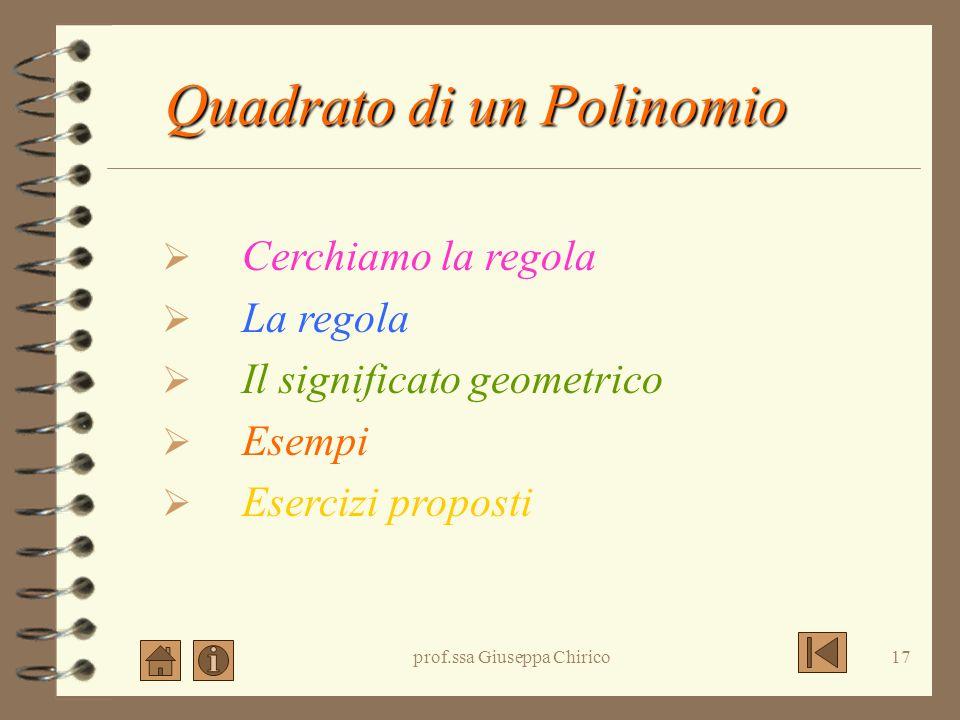 prof.ssa Giuseppa Chirico16 Cubo di binomio: esercizi
