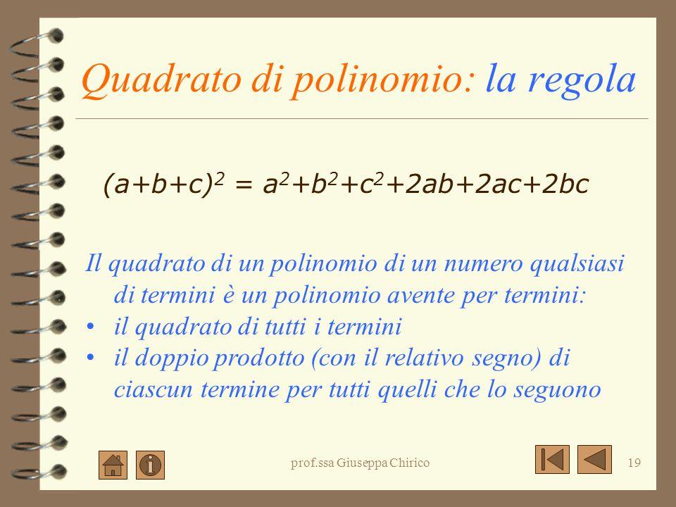 prof.ssa Giuseppa Chirico18 Quadrato di polinomio: significato algebrico (a+b+c) 2 = (a+b+c) (a+b+c) = = a 2 +ab+ac+ab+b 2 +bc+ac+bc+c 2 = = a 2 + b 2