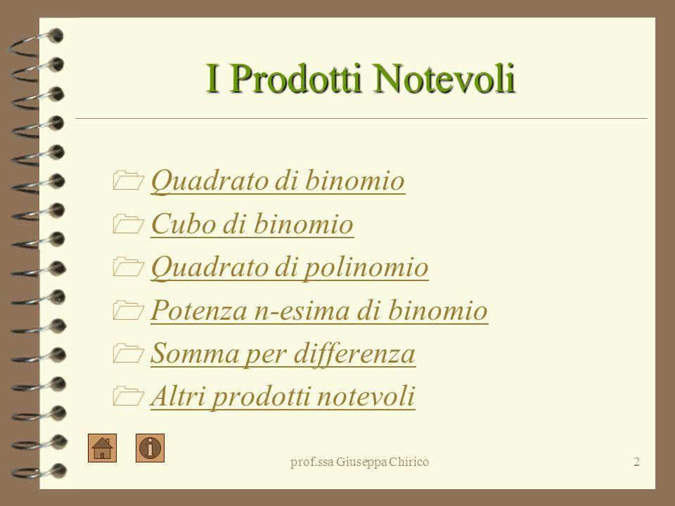 prof.ssa Giuseppa Chirico2 I Prodotti Notevoli Quadrato di binomio Cubo di binomio Quadrato di polinomio Potenza n-esima di binomio Somma per differenza Altri prodotti notevoli