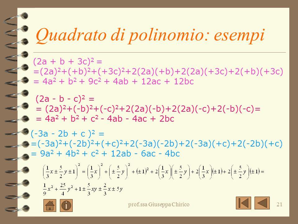 prof.ssa Giuseppa Chirico20 Quadrato di polinomio:significato geometrico (a+b+c)(a+b+c) (a+b+c)2(a+b+c)2 (a+b+c) 2 = a 2 +b 2 +c 2 +2ab+2ac+2bc abc a2