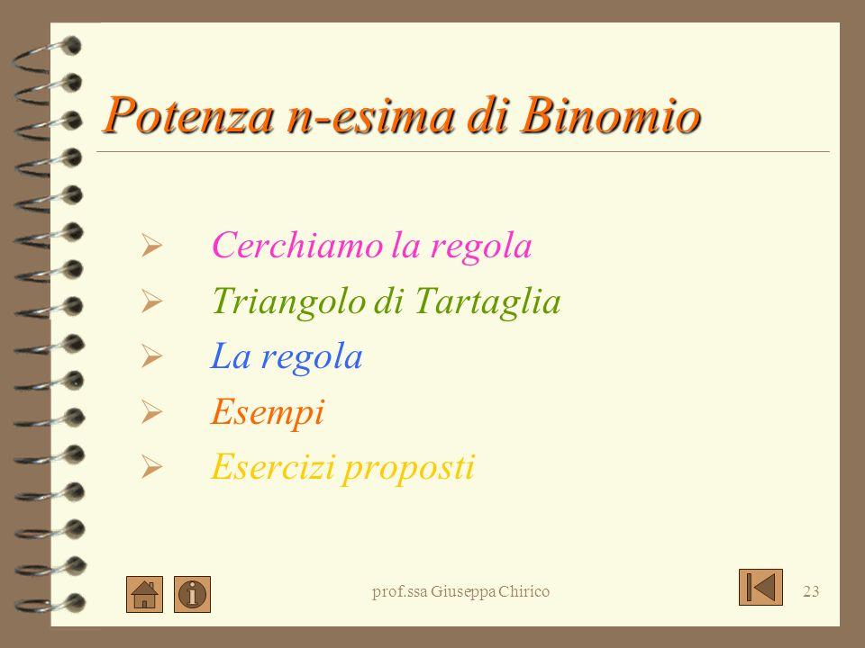 prof.ssa Giuseppa Chirico22 Quadrato di polinomio: esercizi (2a + 2b + 7) 2 = (3a - 4b - 2c) 2 = (-2x - 3y + 1) 2 = (a 2 + 3b - c) 2 = (5a + 2b + c) 2
