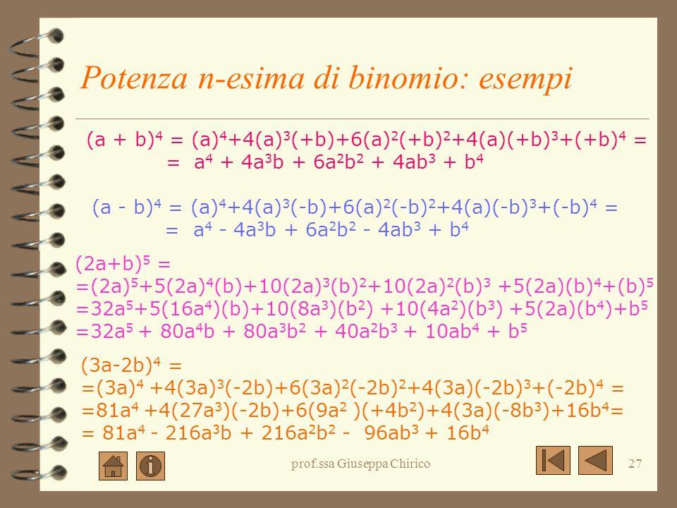 prof.ssa Giuseppa Chirico26 Potenza n-esima di binomio: la regola (a+b) n = a n +na n-1 b + ……. + nab n-1 +b n La potenza n-esima di un binomio è un p