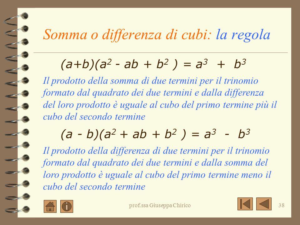 prof.ssa Giuseppa Chirico37 Differenza di Cubi: significato algebrico (a - b) (a 2 + ab + b 2 ) = = a 3 + a 2 b + ab 2 - a 2 b- ab 2 - b 3 = = a 3 - b