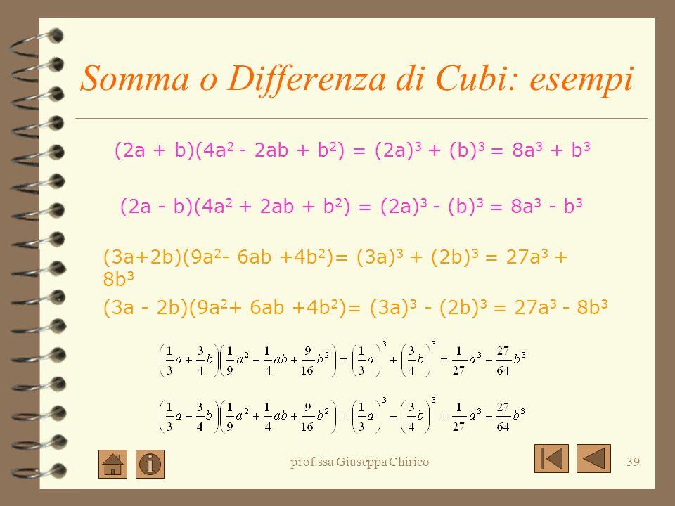 prof.ssa Giuseppa Chirico38 Somma o differenza di cubi: la regola Il prodotto della somma di due termini per il trinomio formato dal quadrato dei due