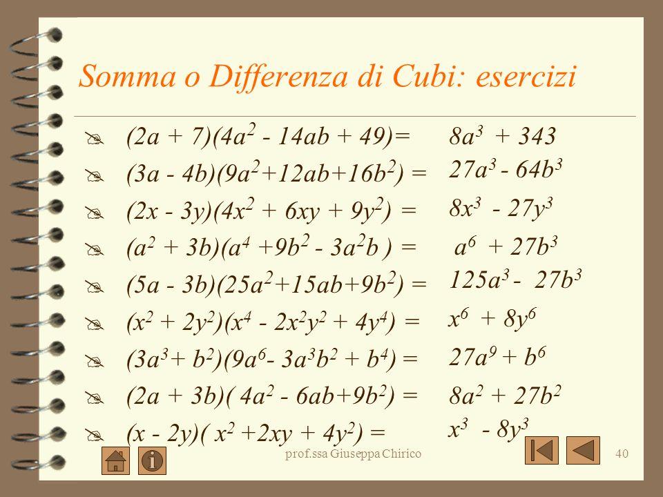 prof.ssa Giuseppa Chirico39 Somma o Differenza di Cubi: esempi (2a + b)(4a 2 - 2ab + b 2 ) = (2a) 3 + (b) 3 = 8a 3 + b 3 (2a - b)(4a 2 + 2ab + b 2 ) =