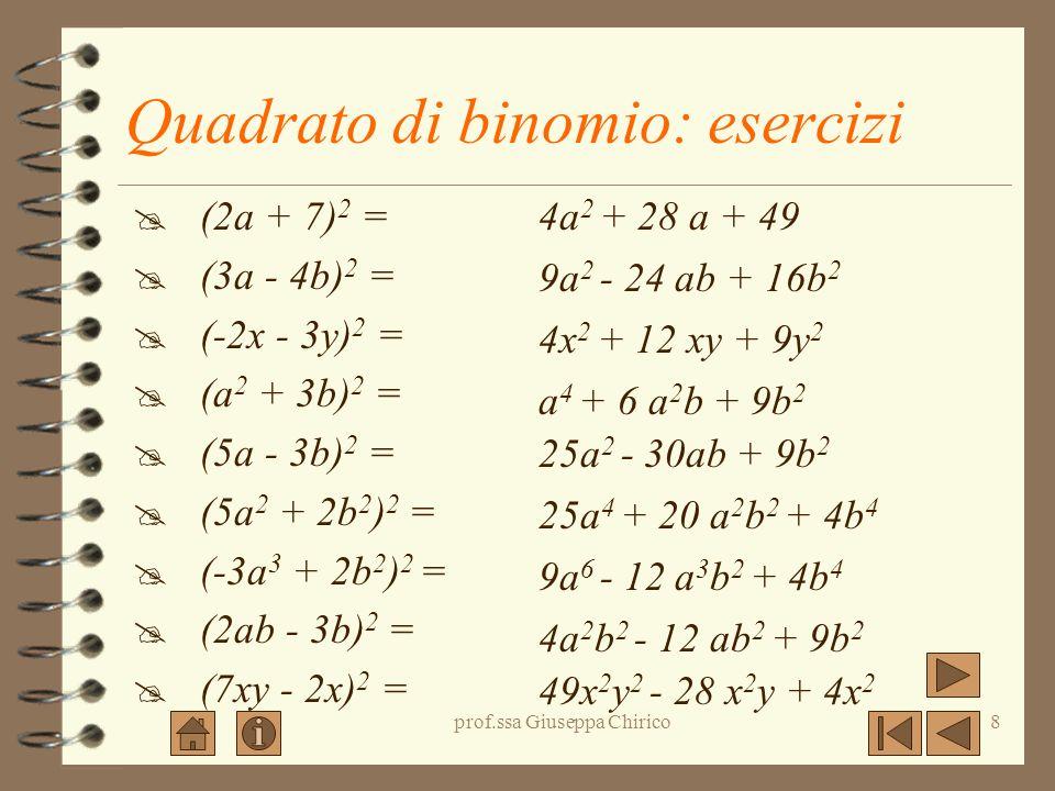 prof.ssa Giuseppa Chirico8 Quadrato di binomio: esercizi (2a + 7) 2 = (3a - 4b) 2 = (-2x - 3y) 2 = (a 2 + 3b) 2 = (5a - 3b) 2 = (5a 2 + 2b 2 ) 2 = (-3a 3 + 2b 2 ) 2 = (2ab - 3b) 2 = (7xy - 2x) 2 = 4a 2 + 28 a + 49 9a 2 - 24 ab + 16b 2 4x 2 + 12 xy + 9y 2 a 4 + 6 a 2 b + 9b 2 25a 2 - 30ab + 9b 2 25a 4 + 20 a 2 b 2 + 4b 4 9a 6 - 12 a 3 b 2 + 4b 4 4a 2 b 2 - 12 ab 2 + 9b 2 49x 2 y 2 - 28 x 2 y + 4x 2