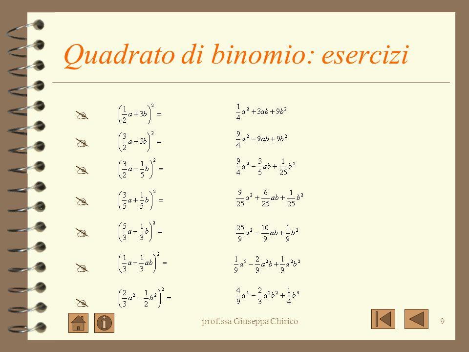 prof.ssa Giuseppa Chirico8 Quadrato di binomio: esercizi (2a + 7) 2 = (3a - 4b) 2 = (-2x - 3y) 2 = (a 2 + 3b) 2 = (5a - 3b) 2 = (5a 2 + 2b 2 ) 2 = (-3