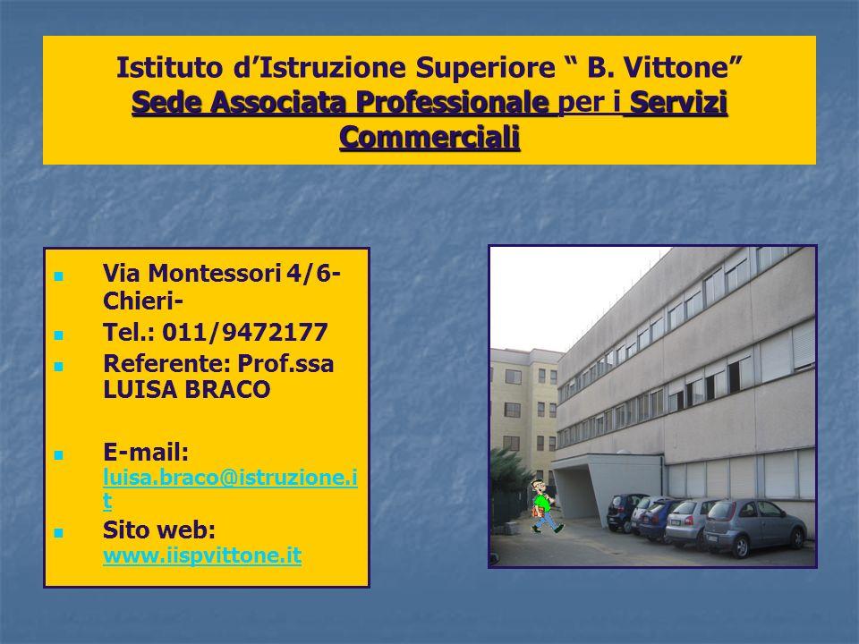 Sede Associata Professionale Servizi Commerciali Istituto dIstruzione Superiore B. Vittone Sede Associata Professionale per i Servizi Commerciali Via