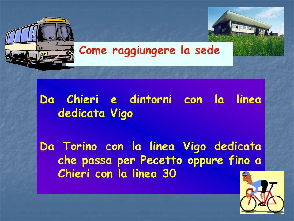 Come raggiungere la sede Da Chieri e dintorni con la linea dedicata Vigo Da Torino con la linea Vigo dedicata che passa per Pecetto oppure fino a Chie