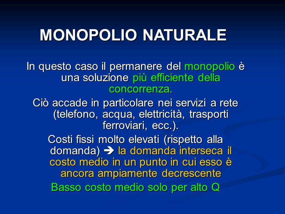 MONOPOLIO NATURALE In questo caso il permanere del monopolio è una soluzione più efficiente della concorrenza. Ciò accade in particolare nei servizi a