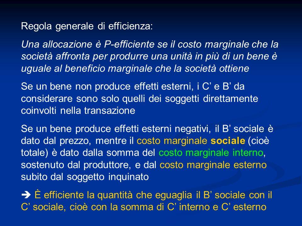 Regola generale di efficienza: Una allocazione è P-efficiente se il costo marginale che la società affronta per produrre una unità in più di un bene è