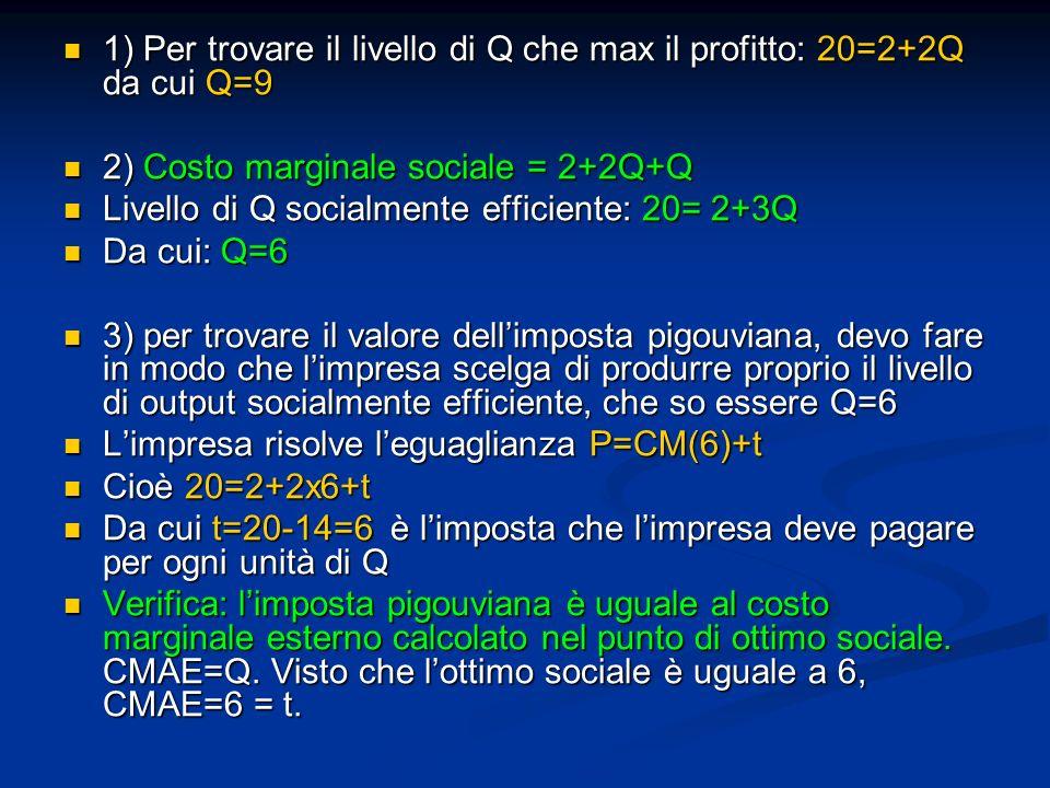 1) Per trovare il livello di Q che max il profitto: 20=2+2Q da cui Q=9 1) Per trovare il livello di Q che max il profitto: 20=2+2Q da cui Q=9 2) Costo