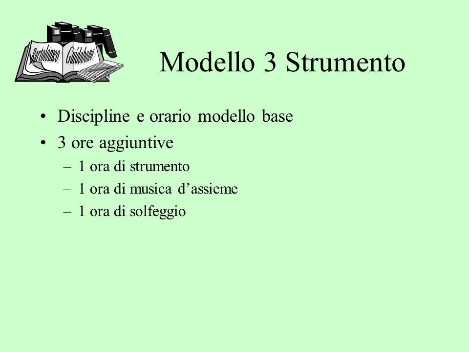 Modello 3 Strumento Discipline e orario modello base 3 ore aggiuntive –1 ora di strumento –1 ora di musica dassieme –1 ora di solfeggio