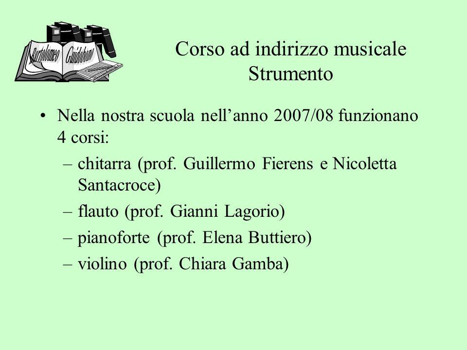 Corso ad indirizzo musicale Strumento Nella nostra scuola nellanno 2007/08 funzionano 4 corsi: –chitarra (prof.