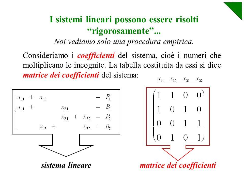 Ma, a parte i colori, le relazioni sono: Queste equazioni vanno raggruppate nel sistema: Le x ij sono le 4 incognite, mentre a destra degli uguali ci sono i termini noti.