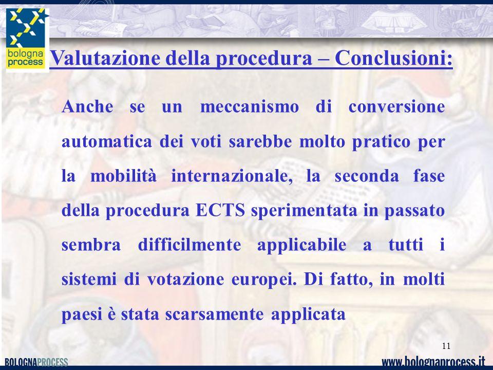 11 Valutazione della procedura – Conclusioni: Anche se un meccanismo di conversione automatica dei voti sarebbe molto pratico per la mobilità internazionale, la seconda fase della procedura ECTS sperimentata in passato sembra difficilmente applicabile a tutti i sistemi di votazione europei.